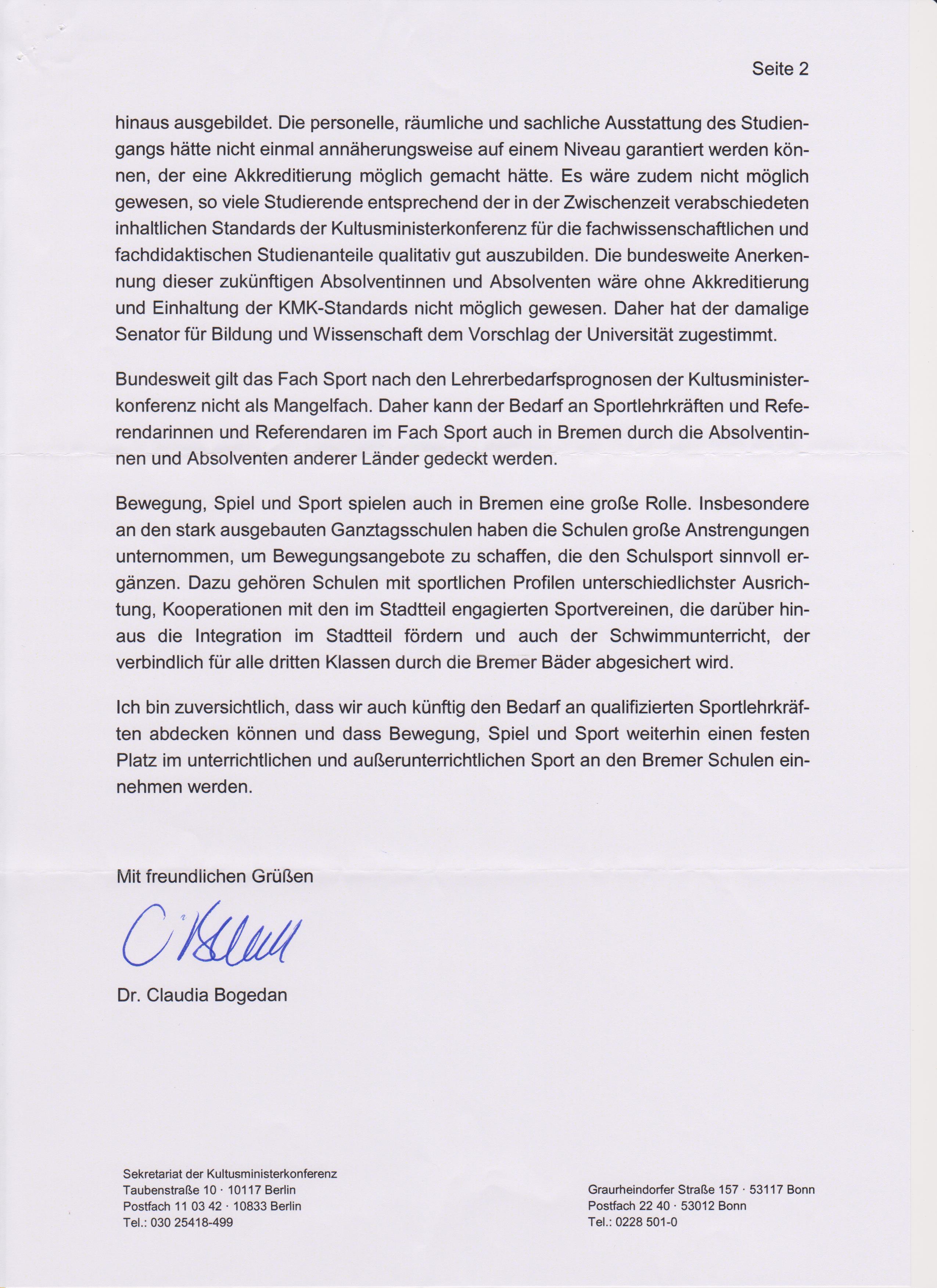 Sportlehrerausbildung Bremen: Antwortschreiben von Frau Dr. Claudia ...